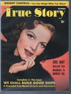 True Story 11/1941-Elyse Knox-Jack Benny-Eddie Cantor-exploitation-pulp thrills-