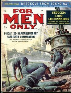 For Men Only January 1959-NAZI SUBMARINE BATTLE-DE SOTO ART VG