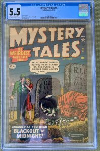 MYSTERY TALES #5 CGC 5.5 O/W to ZOMBIE COVER STAN LEE ATLAS