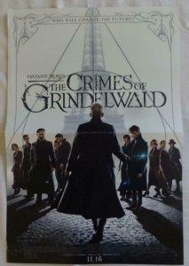 CRIMES OF GRINDELWALD Promo Poster , 11 x 17,  2016, WARNER BROS, Unused 094
