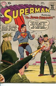 SUPERMAN  #126 1958-DC-MILITARY COVER-vg