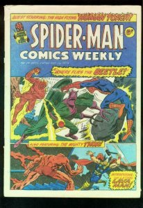 SPIDER-MAN COMICS WEEKLY #15 1973-STEVE DITKO-JACK KIRBY-BRITISH-BEETLE-THOR FN