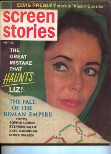 Screen Stories-Liz Taylor-Sean Connery-Sophia Loren-Elvis Presley-May-1964