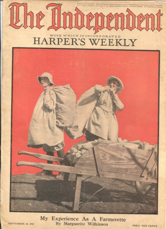 The Independent 9/14/1918-WWI issue-over 100 years old-incorporates Harper's ...