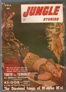 Jungle Stories-Fall 1947-George Gross bondage cover-Ki-Gor-Dan Cushman-VG