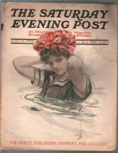 Saturday Evening Post 7/25/1908-Harrison Fischer GGA cover-pulp fiction-G/VG