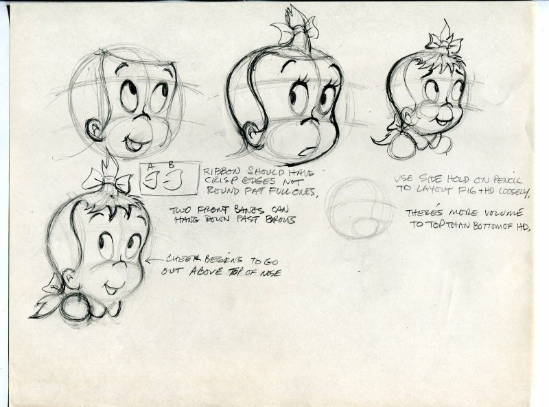 Little Audrey Style Sheet Original Comic Production Art- hair & expressions