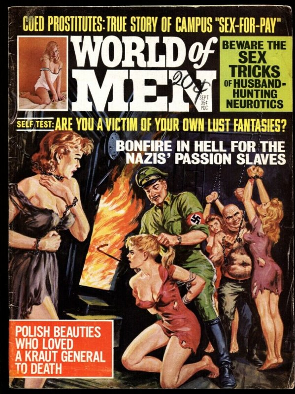 World of Men September 1968 GGA NAZIs throw babes in furnace! Pulp