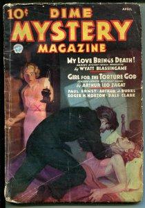 Dime Mystery 4/1936-brutal strangulation-terror-weird menace-torture-GOOD/VG