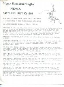 Edgar Rice Burroughs News Dateline #8 7/10/1981-Tarzan-fanzine-newsletter-VF