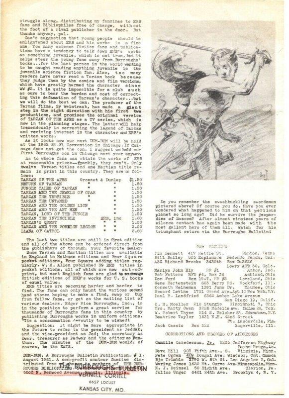 DUM-DUM FIRST ISSUE AUG 1961-EDGAR RICE BURROUGHS-TARZAN-FANZINE--RARE