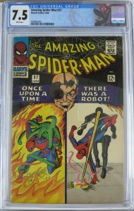 AMAZING SPIDER-MAN #37 (Marvel,6/1966) CGC 7.5 WHITE PAGES 1st Norman Osborne