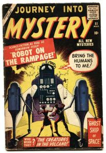 JOURNEY INTO MYSTERY #51 vg- 1959 Atlas Kirby and Ditko robot cover