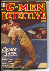 G-Men Detective 2/1946-hero Pulp-Dan Fowler-F.B.I.-Crime By The Carton-VG-