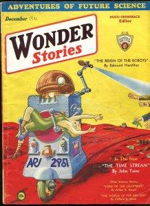 WONDER STORIES 12/1931-ROBOT-BLONDE BABE-FRANK R PAUL COVER-vg/fn