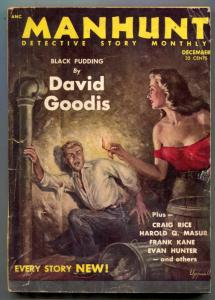 Manhunt Pulp December 1953- Black Pudding- crime fiction G/VG