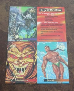 1995 Flair 4 Card Promo Sheet NM Spider-Man Storm Sabretooth Hobgoblin