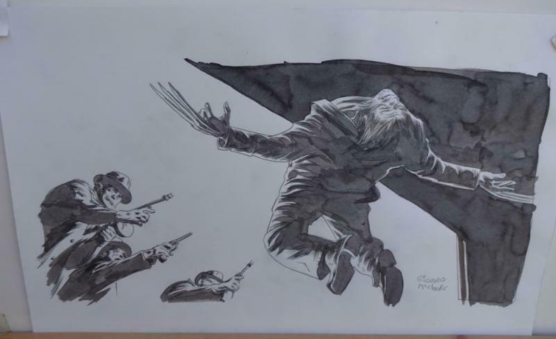 RICHARD ISANOVE original art, SAVAGE WOLVERINE #14, Signed, 11x17, Getting Shot