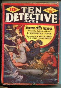 Ten Detective Aces 11/1942-Ace-Norman Saunders-bound babe-hardboiled-pulp-VG