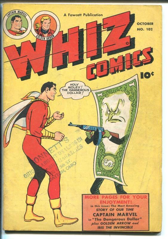 WHIZ #102 1948-FAWCETT-CAPT MARVEL-GOLDEN ARROW-WOLVERTON-IBIS-vg