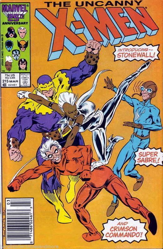 UNCANNY X-MEN #215 1985 MARVEL 1ST APP  CRIMSON COMANDO+SUPER SABRE+STONEWALL
