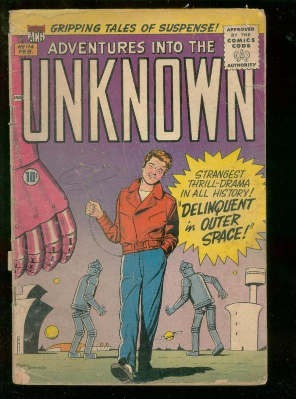 ADVENTURES INTO THE UNKNOWN #114-1960-DELINQUENT-ROBOT  FR