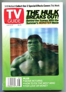 INCREDIBLE HULK TV guide, June 21-27 2003, 3-D Hologram, more in store, Grrrr