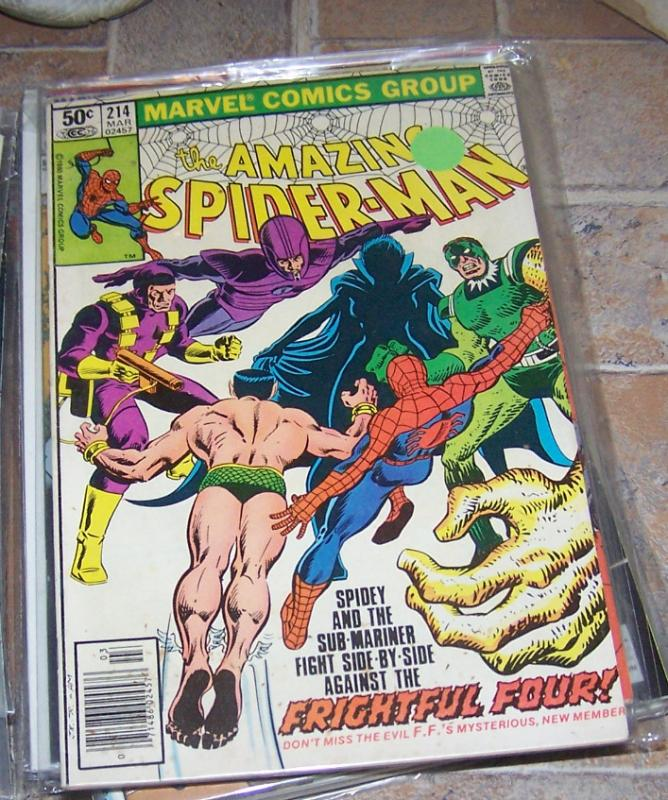 Amazing Spider-Man # 214 MARVEL 1980 FRIGHTFUL FOUR NAMOR +RARE PAROLDY XMEN 142