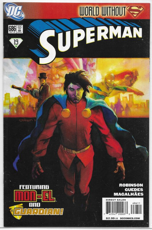 Superman (vol. 1, 2006) #686 VF (New Krypton green 19: World Without) Mon-El