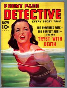 FRONT PAGE DETECTIVE PULP-JULY 1939-MYSTERY-CRIME-GOOD GIRL ART-MURDER--VF VF