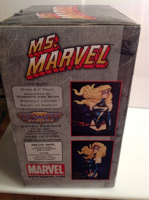 Marvel Bowen Designs Ms. Marvel mini-bust MIB #0489/1000 Captain Carol Danvers