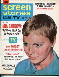 Screen Stories 9/1967-Dell-Mia Farrow-Twiggy-Nimoy-Shatner-Daktari-FN/VF