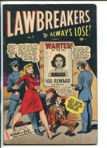 LAWBREAKERS ALWAYS LOSE #1 1948-TOMMY GUN-VIOLENCE-FBI POSTER-SKELETON-vg+