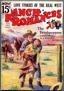 Ranch Romances Pulp April 1 1936- Western- Brushpoppers- Barbed wire cover