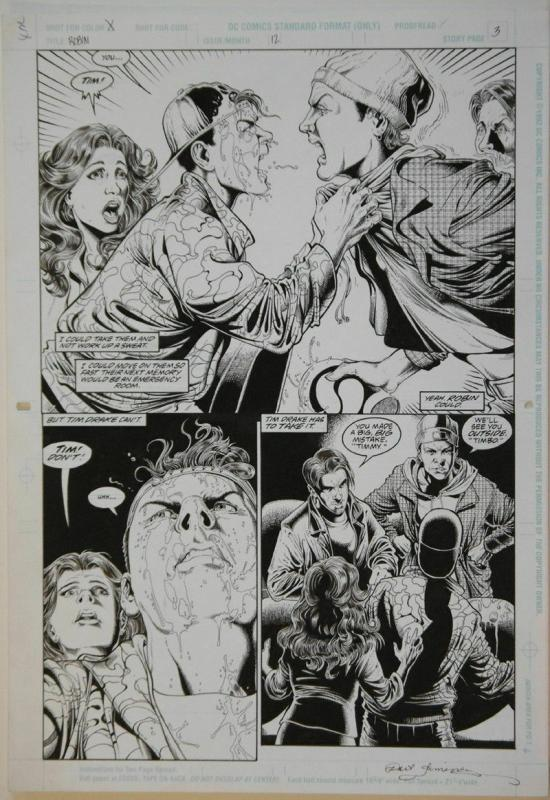 PHIL JIMENEZ / JOHN STOKES original art, ROBIN #12 pg 3, 11x17, Bullies, 1994