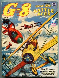 G-8 and His Battle Aces Pulp October 1943-Bombs from the Murder Wolves VG