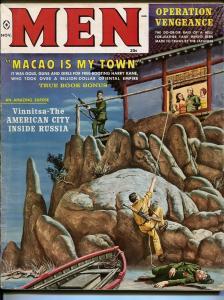 Men 11/1959-pulp-adventure-Mort Kunstler-cheesecake-James Bama-Pollen-VG/FN