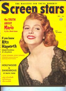 Screen Stars-Rita Hayworth-Marta Tqren-Mario Lanza-Pier Angeli-Oct-1952