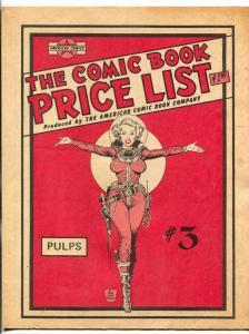American Comic Book Co. Comic Book Price List #3 1978