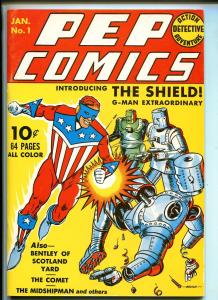 PEP COMICS #1 REPRINT #1970'S-DYNA PUBS-JACK COLE-THE SHIELD-SCOTLAND YARD-vf