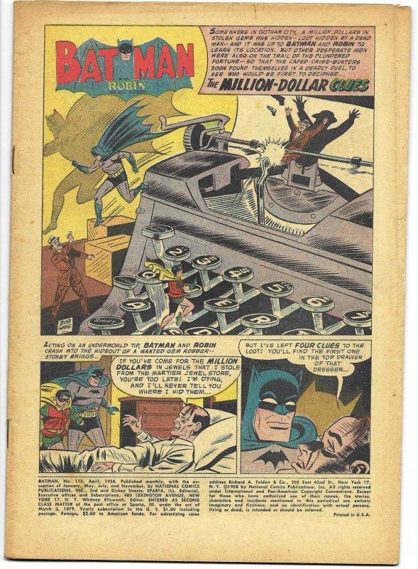 COVERLESS: Batman #115 DC 1958 Bill Finger story Sheldon Moldoff art Bottle
