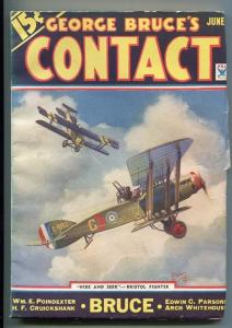 GEORGE BRUCE'S CONTACT 06/1934-WWI-BI-PLANE-FADED SPINE-TINSLEY-fn minus