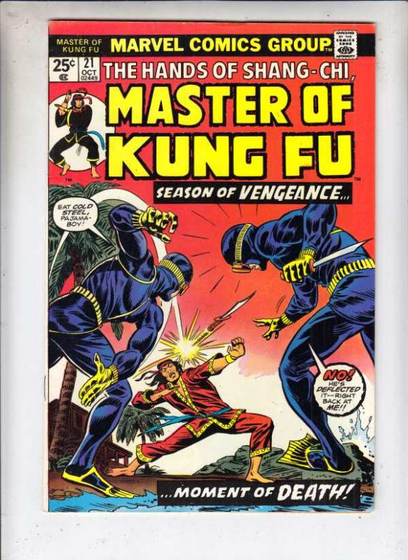 Master of Kung Fu, the Hands of Shang-Chi #21 (Oct-74) VF/NM+ High-Grade Shan...