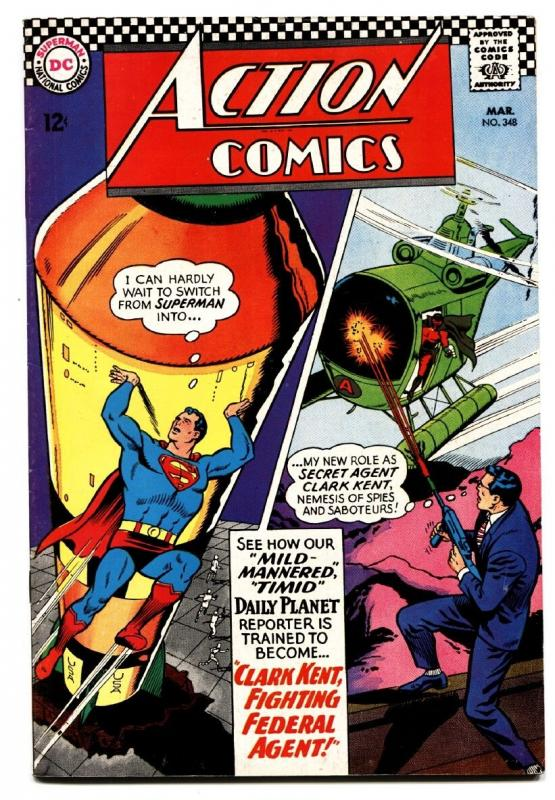 ACTION COMICS #348 comic book 1967-SUPERMAN-MISSLE-H BOMB PANEL VF