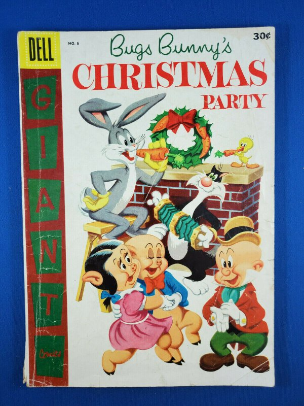 DELL GIANT BUGS BUNNY CHRISTMAS PARTY 6 VG 1955