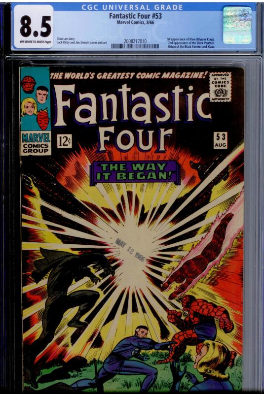 Fantastic Four #53 CGC 8.5 OW/White pgs  Origin & 2nd app. Black Panther