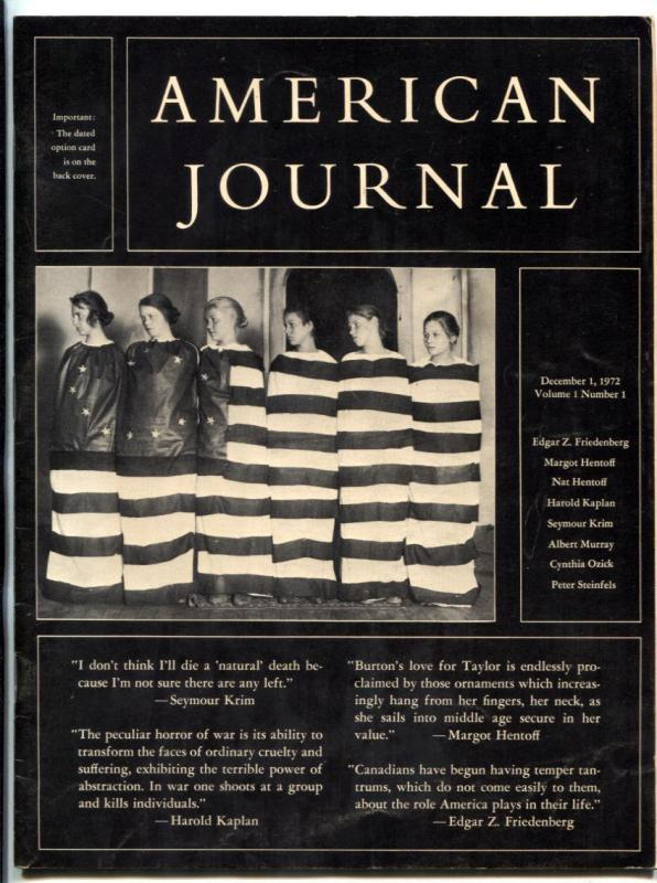 American Journal Magazine #1 1972- Edgar Friedenberg