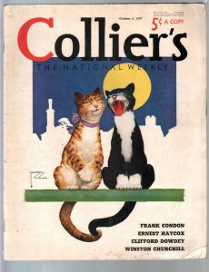 Colliers 10/2/1937-famous Lawson Woods cats cover-Agatba Christie-Churchill-VG