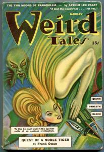 Weird Tales Pulp January 1943- Frank Owen- Zagat- Derleth VG-