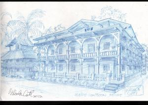 NICK CUTI BACKGROUND ANIMATION ART PRELIMINARY ORIGINAL ART-CARIBEAN RESORT